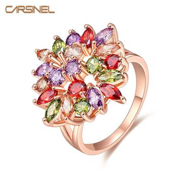 CARSINEL 2017New Fashion Unique Design Rose Gold Color Mona Lisa Ring for Female Wedding with AAA Colorful Cubic Zircon