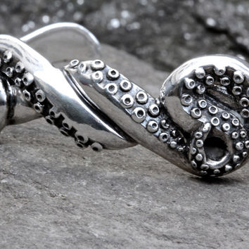 Silver Octopus Tentacle Cuff Bracelet made in NYC Blue Bayer Design