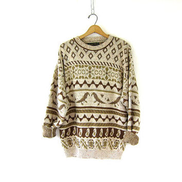 Vintage brown print pullover. Chunky knit sweater. Birds and Paisleys sweater. Brown Cream Oversized preppy sweater.
