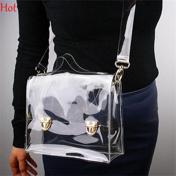 Hot Work PVC Transparent Bags Women Shoulder Box Bag Waterproof Crossbody Women Messenger Bags Clear Phone Clutch Bags SV016334