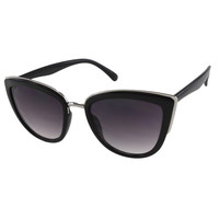 Womens Oversize Black Cateye Sunglasses with Metal Accents