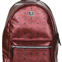 MCM Unisex Metallic Red Weekender Visetos Backpack Bag