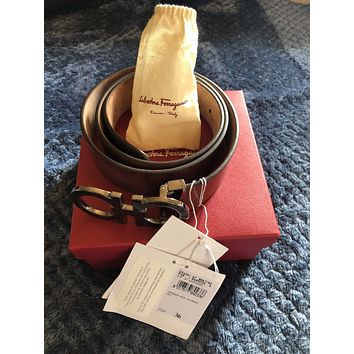 salvatore ferragamo belt (hickory brown)