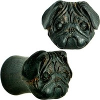 00 Gauge Organic Areng Wood Pug Hand Carved Plug Set | Body Candy Body Jewelry