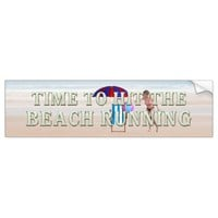 TEE Time to Hit Beach Running Bumper Sticker