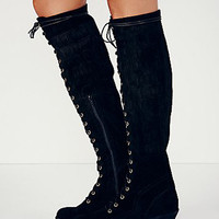 Black Suede Lace Up Front Block Over the Knee Boots