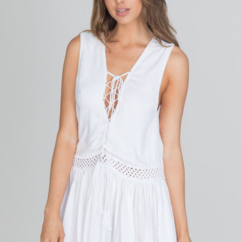 Indah - Moonbeam Crochet Mini Dress | White