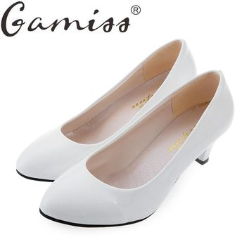Gamiss Shallow Women Low Heel Sandals Shoes Round Toe Platform Red Bottom OL Office Ca