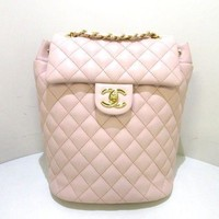 Auth CHANEL Matelasse A91121 Pink Lambskin Backpack Gold Hardware
