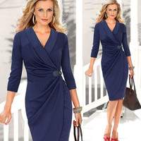 Casual Pencil Dress Lady Wrapped Ruched 3/4 Long Sleeve Cocktail Party Business D_L = 5617705473