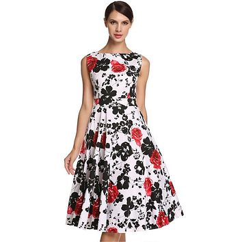 Floral Swing Summer Dress in White with Red and Black Flowers