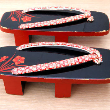 A pair of Japanese geta lacquered wooden clogs from Japan