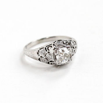 Antique 20k White Gold Art Deco .72 CTW Diamond Ring - 1920s Vintage Intricate Filigree Fine Engagement Bridal Wedding Half Carat + Jewelry