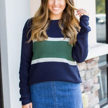 Look Around Stripe Sweater - Navy