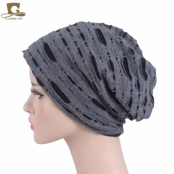 2017 Autumn and winter Broken Hole turban hat Cap Women men Fashion Soft Slouchy Stretchy Beanie Lightweight Cutout Skull Hat