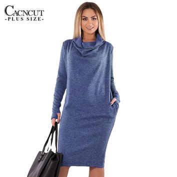 5XL 6XL Plus Size Winter Dress 2018 Vintage Big Sizes Women Office Dress Large Size Female Party Dresses With Pockets Work Wear