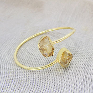 Citrine Bangle - Adjustable Ring - Gold Gemstone Bangle - Rough Stone Bangle - Gold Plated Bangle - Bezel Set Bangle - Women Bangle