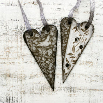 Set of 2 wooden hearts rustic ornaments Valentines day decor, Valentine gift brown off white black grey neutral