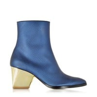 Zoe Lee Designer Shoes Addis Bluette Embossed Leather Bootie