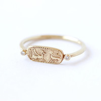 Gold Signet Ring - Gold Lion Ring - 18k Solid Gold