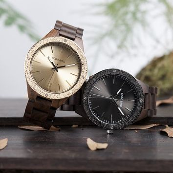Men Watch Bamboo Wooden Wrist Watches With Wood Links In Gift Wood Case Custom logo