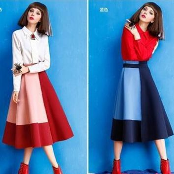 new fashion hight waist pink red splicing long pleated skirt