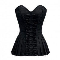 ND-049 - Black Bow Front Corset with Pleated Sides