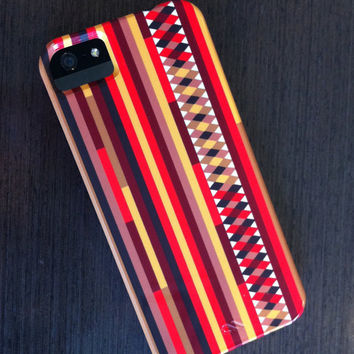 """iPhone 4 Case - """"Confused Stripes"""" Graph Drawing -  striped iPhone case, iphone 4 case, autumn colors"""