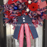 July 4th Wreath, Uncle Sam Wreath, Patriotic Wreaths, Door Hanger, Whimsical Wreaths, Front door wreaths, Made to Order