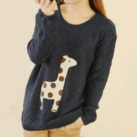 Cute Giraffe Embroidery Cloth Pullover Sweater Blue