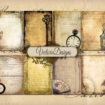 INSTANT DOWNLOAD Tattered ephemera ATC digital background instant download printable collage sheet 006