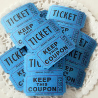 Blue Raffle Tickets. Carnival Tickets. Party Tickets. Game Ticket. Embellishment. Junk Journal Paper. Mixed Media Supply. Scrapbooking. Tag.