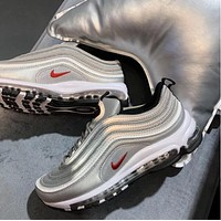 NIKE AIR MAX 97 Trending Women Men Leisure Running Sneakers Sport Shoes(7-Color) Silver Grey I