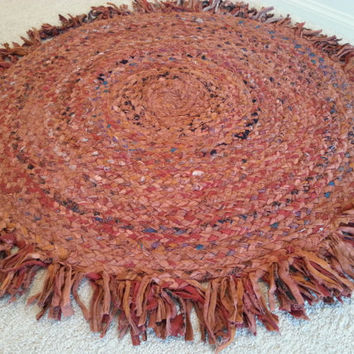 Rag Rug, Braided Cotton Round Rugs, Colorful Coral and Rustic, Scrap Chindi, Boho Chic Hippie Rug, Cirlcle Shag Area Rugs