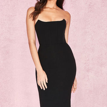 Clothing : Bodycon Dresses : 'Niaz' Black Stretch Crepe Strapless Bodice Dress