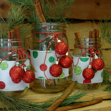 Red White and Green Fun Christmas set of 3 Mason Jars Christmas decor Christmas table decor