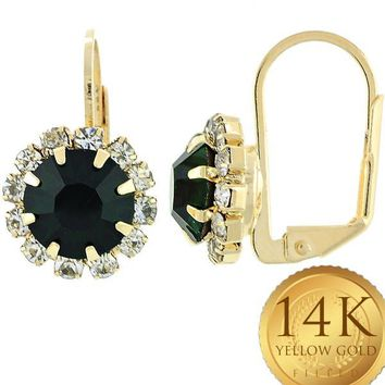 Gold Layered Women Flower Leverback Earring, with Emerald Cubic Zirconia, by Folks Jewelry