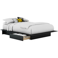 Queen Size Back Platform Bed Frame with Storage Drawers