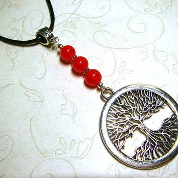 Tree of Life Necklace, Red Agate Jewelry, Viking Celtic Pagan Spiritual Metaphysical, Unisex, Gift for Him, Gift for Her, Gift for Men, OOAK