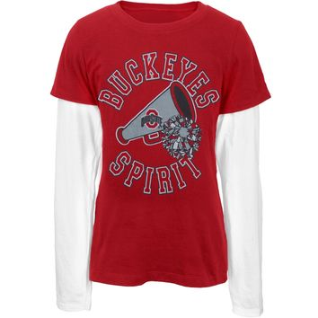 Ohio State Buckeyes - Spirit Game Day Girls Youth Long Sleeve 2fer - Youth