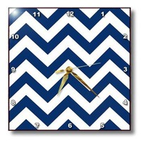 3dRose dpp_193378_3 Navy and White Chevron Wall Clock, 15 by 15""