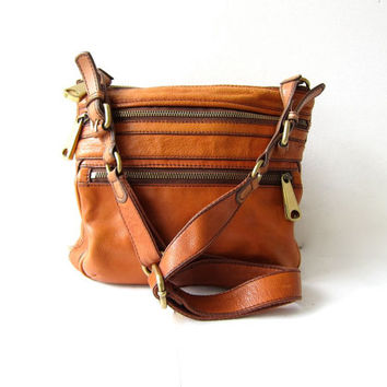 Vintage Fossil Purse Crossbody Shoulder Bag Boho Ernut Brown Leather Purs