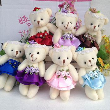 50PCS/LOT Christmas Home Wedding Decoration Bear Small Plush Toys Baby Chain Key Pendant Flower Bouquets Bear