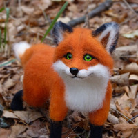 Needle Felted Wool  MADE TO ORDER Handmade Felt doll   Figurines Sculpture  Needle felted animal Handmade animal Needle felted Red Fox