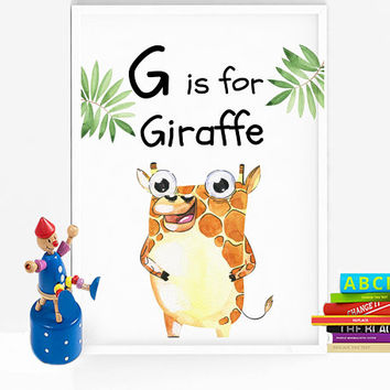 Giraffe print - Safari nursery decor - Safari nursery print - Gender neutral nursery decor - PRINTABLE - G is for print - Animal nursery