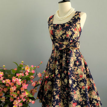 My Lady Gorgeous Navy Floral Dress Spring Summer Sundress Navy Floral Bridesmaid Dresses Party Dress Country Vintage Design Dress XS-XL
