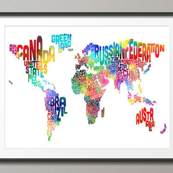 Typographic Text Map of the World Map, Art Print 18x24 inch (187)