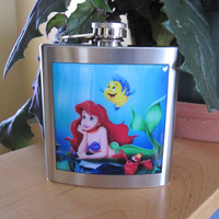 Little Mermaid Inspired Ariel Liquor Hip Flask by littlepennylane