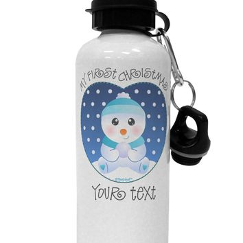 Personalized My First Christmas Snowbaby Blue Aluminum 600ml Water Bottle