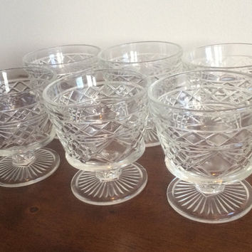 Vintage Pressed Glass Bowl Big Top Gothic Hazel Atlas Mid Century Dessert Dishes